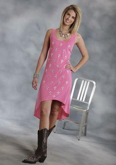 Roper® Women's Pink Nailhead Cross Hi-Lo Tank Dress