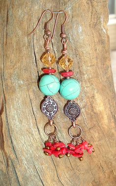 Boho Earrings Southwest Earrings Turquoise Jewelry by BohoStyleMe, $36.00