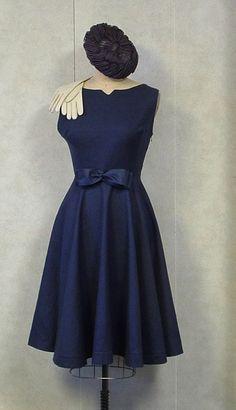 Navy circle skirt dress 1950s style HANDMADE Vintage Couture Mad Men Rockabilly Bombshell Princess Formal Wedding