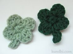 tiny four-leaf clover pattern : crochet : st. patrick's day : kundhi.com