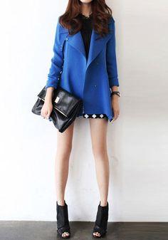 Oversize Lapel Blazer - Blue