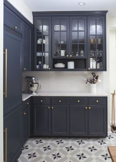 navy cabinets, glass