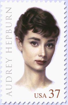 peopl, postag stamp, audrey hepburn, star, inspir