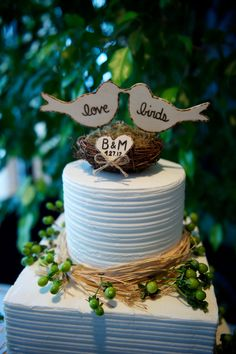 "Personalized ""love birds"" cake topper, www.creativebyheart.etsy.com"