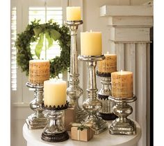 Pottery Barn 2010, Mercury Glass & Antique Music wrapped Candles. Oh, grab the look!