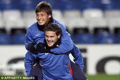David Silva with Juan Mata