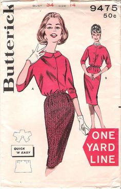 1960s Butterick 9475 Sewing Pattern OneYard Skirt and Blouse with Three Quarter Sleeves, offered on Etsy by GrandmaMadeWithLove