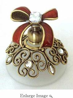 Well Jeweled Burgundy Ribbon Perfume Bottle