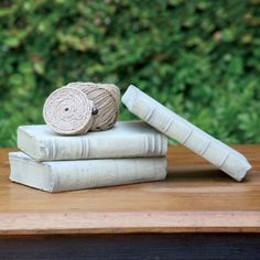Cement cast books. Outdoor decor? Could even make stepping stones with them.