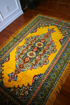 Bohemian home furnishings | Vintage Rug. Golden Yellow. Eclectic.