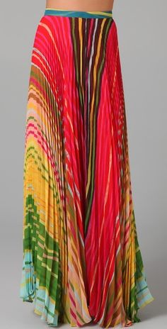Rainbow bright! This is one colorful spring maxi skirt