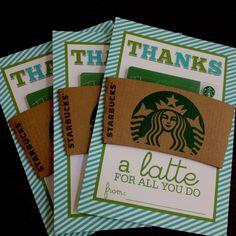 teachers appreciation gifts, gift ideas, teacher appreciation gifts, school stuff, teacher gift, gift cards, thanks a latte, appreci gift, gift card holders