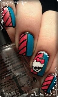 kids  nails    of  monster  high | Monster High nails definitely my girls would love this.