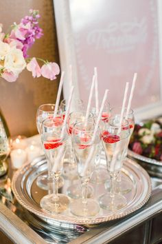 Bubbly, berries and pink striped straws | Hosting, Styling, Design + Florals: Hey Gorgeous Events - heygorgeousevents.com | Photography: Bradley James Photography - bradleyjamesphotography.com  Read More: http://www.stylemepretty.com/little-black-book-blog/2014/06/03/trouvaille-workshop-wedding-inspiration/