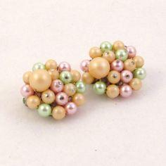 Vintage 1960s Earrings Mad Men Pastel Sherbet Beads by Revvie1, $6.00