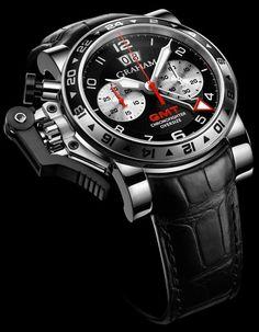Graham Chronofighter Oversize GMT Black Steel Watch graham