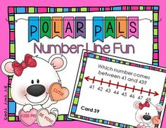 Polar Pals Number Line task cards - Valentine's - Find the
