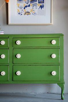 Green dresser. Love.