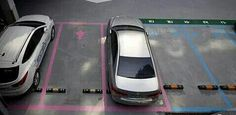 Pink spaces for women are larger to make parking easier (thx @patelster1)