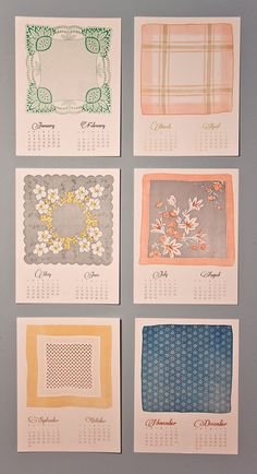 Vintage Handkerchief calendar by Mink Letterpress