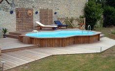 Semi Inground Pools Suits for Outdoor Party: Semi Inground Pools Blue Bench ~ aquisio.com Pool