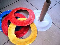 "Paper Plate Ring Toss Game.  This would be a fun activity to make AND play at Saturday Sports! (found on a great little blog: ""A Little Learning for Two"")"