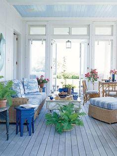 outdoor rooms, color, blue, hous, benjamin moore, cottage style, painted ceilings, sunroom, screened porches