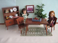Hall's Lifetime Doll Furniture  RARE Modern Dining by TheToyBox, $85.00