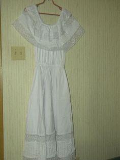Mexican Fiesta Dress Crisp White Never Worn Beautiful Crochet Full Skirt   eBay