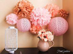 SALE 5 Tissue Pom Poms,wedding reception decorations,ceremony decorations,DIY,birthday,wedding party
