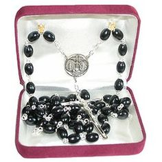 Perfect Father's Day gift. Black Wood Sterling Silver Rosary. $80.95