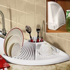 Dish drying and storage rack. This is perfect for apartment living!