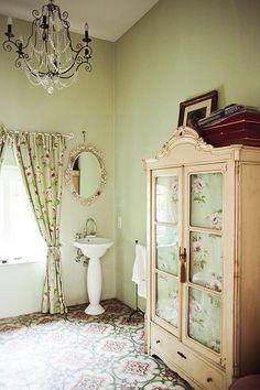 Floral Floor, Chandelier,& Armoire