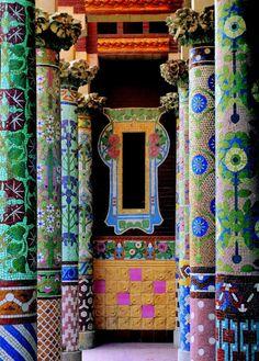 color, palau de, tile, barcelonaspain, column, door, place, mosaic, barcelona spain