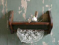 Wall Shelf: Wood, with Towel Bar