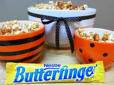 Butterfinger Popcorn  (if you aren't bothered by corn) (I've looked these ingredients up online and they all say they're gluten free)
