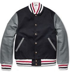 Thom Browne Cotton and Leather Bomber Jacket   | MR PORTER