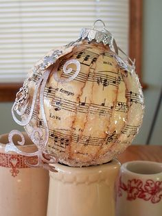 Sheet music ornaments (or with book pages)
