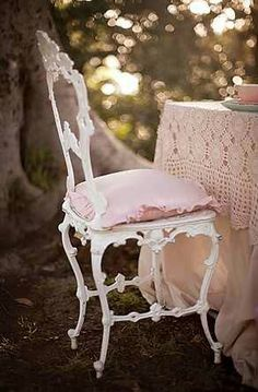 Vintage Pink Chair and Scalloped Lace Table Cover