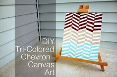 She Learns As She Goes: DIY Tri-Colored Chevron Canvas Art