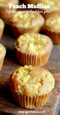 Peach Muffins (gluten, grain, and nut free, paleo) made with coconut flour - savorylotus.com