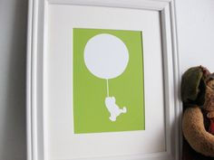 Winnie the Pooh in Flight  Nursery Art Print by valeriejauma, $20.00  I would love to have several silhouette prints of children's classics for a nursery or library.