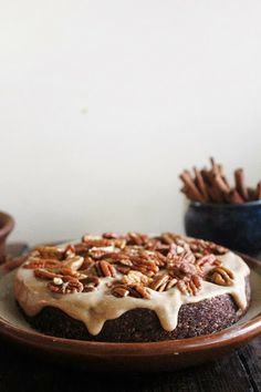 Dark Chocolate Cake with Spiced Caramel and Pecans