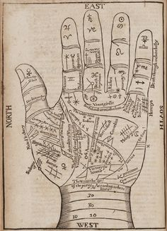 vintage palm reading chart