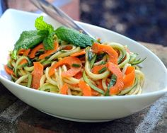 Spiral Zucchini Noodle Salad with Homemade Catalina Dressing, fresh, healthy, summery. Low carb. Vegan.