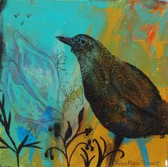 Interlude 20 x 20 Print Black Bird on Teal by RobinMariaPedrero, 50.00