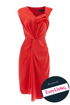 Lovely red drape dress! Drape Dress #topfashion #kathyna257892 #DrapeDress #Drape  #Dresses #summerdress www.2dayslook.com