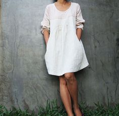 Linen earthy dress with hand stitches detail