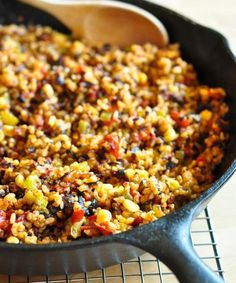 TEXMEX RICE 4 cups cooked rice  1 1/2 cups cheddar cheese  1 diced green pepper  1 16-oz can diced tomatoes and their juices  1 cup fresh or frozen corn  1 2.25-oz can black olives, minced 2 tsps chili powder  2 tsps salt  Combine all the ingredients in a big bowl, cook in cast iron pan for 30-40 minutes over medium heat, stirring every 5 minutes to work the cheese into the dish.