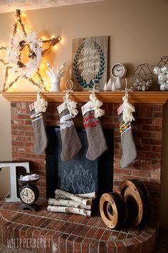 christma mantl, chalkboards, faux fireplace, fireplaces, cork boards